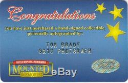 #12 Tom Brady Autograph 8x10 Photo with Mounted Memories COA Hand Signed/Auto