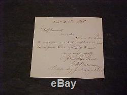 1866 Union General Gouverneur Warren Autographed Hand Signed Note Civil War