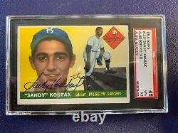 1955 Topps #123 Sandy Koufax RC Authentic Hand Signed Auto Rookie SGC 3.5 Auto 9
