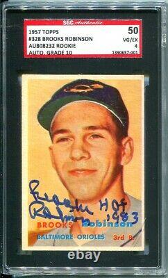 1957 Topps #328 Brooks Robinson Hand-Signed HOF Rookie SGC 4 / Auto Grade 10