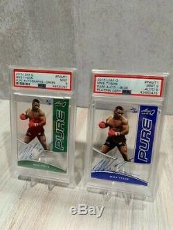 (2) 2015 Leaf Q pure Mike Tyson Autograph Hand Signed cards PSA Graded /25 /8