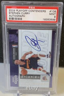 2009 Stephen Curry Contenders Rookie Ticket Auto Psa 9 Pop 20 Perfect Auto 3pt