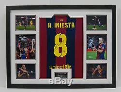 Andres Iniesta Hand Signed Barcelona Shirt FRAMED AUTOGRAPH GENUINE AFTAL (A)