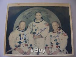 Apollo 11 Crew Authentically Hand-Signed WSS Portrait Photo A Kodak Paper NASA