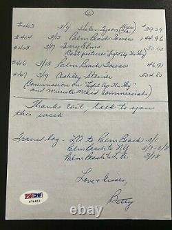Betty White Golden Girls Hand Written and Signed Autograph Auto Notes PSA COA