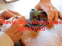 Boba fett helmet & case hand signed Jeremy Bulloch Star Wars silver signature