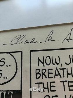 CHARLES M. SCHULZ Hand Signed SNOOPY ARTWORK Peanuts Autograph Comic Strip