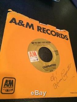 Carpenters Karen Carpenter Autographed Vinyl 45 Hand- Signed Deceased Richard