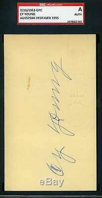 Cy Young SGC Coa Autograph Hand Signed 1953 GPC