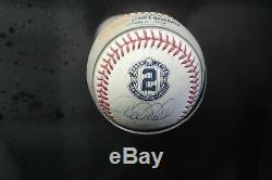 Derek Jeter Hand Signed Autographed Game Used 2014 MLB Baseball Framed Steiner