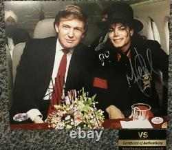 Donald Trump and Michael Jackson both HAND SIGNED autographs 8x10 photo with COA