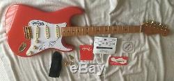 Fender Fiesta Red Stratocaster HAND Signed by The Shadows Hank Marvin, Autograph