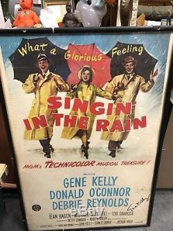 Gene Kelly Hand Signed Autographed Movie Poster Singing In the Rain 1952 Framed