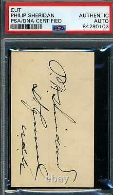 General Philip Sheridan PSA DNA Coa Hand Signed Civil War Album Page Autograph
