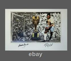 Gordon Banks Vs Pele Dual Hand Signed 20x13 Football Photograph