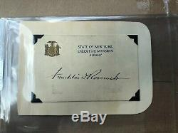 Hand Signed Franklin D. Roosevelt (fdr) State Of New York Executive Mansion Card