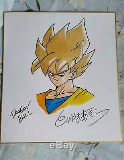 Hand drawn Toriyama Akira autographed Shikishi Card Art Board Dragon Ball 92019E