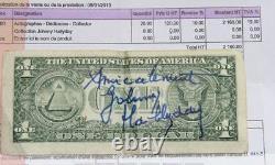 JOHNNY HALLYDAY Autograph Dollar Hand Signed HALLYDAY Dedicace + Certificat