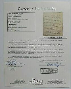 James Buchanan Authentic Letter All In His Hand Signed As President 1857 Jsa Coa