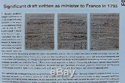 James Monroe 3 Pages Handwritten Draft Entirely In His Hand Not Signed 9-6-1795