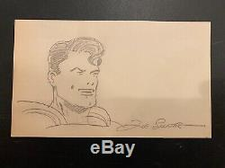 Joe Shuster Superman Artist Autographed and Hand Drawn Card with JSA Letter