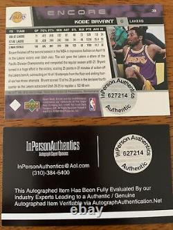 Kobe Bryant Hand Signed Autographed Los Angeles Lakers Basketball Card Coa