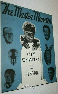 LON CHANEY JR. Hand Signed Autographed Ad Poster withCOA THE WOLFMAN