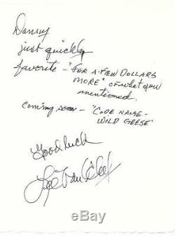 Lee Van Cleef Rare Hand Written And Signed Note Western Legend Autograph