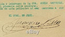 MEXICO AUTOGRAPH OF PANCHO VILLA HANDSIGNED DOCUMENT(War Safe-conduct)