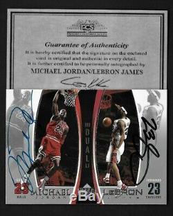 Michael Jordan/Lebron James Upper Deck dual hand signed Autograph Card withCOA