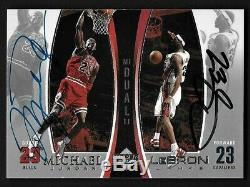 Michael Jordan/Lebron James Upper Deck dual hand signed Autograph Card withCOA