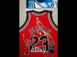 Michael Jordan, Scottie Pippen and Dennis Rodman autographed hand-painted piece