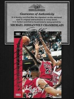 Michael Jordan/Wilt Chamberlain Upper Deck dual hand signed Autograph Card withCOA