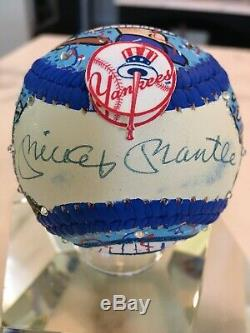 Mickey Mantle Autographed Fazzino Hand Painted Museum Collection JSA LOA + PSA