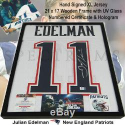 NEW Julian Edelman Patriots Autographed White Jersey Hand Signed Framed with COA