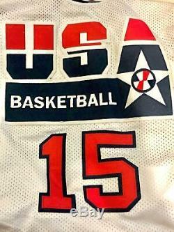 Nba Magic Johnson Hand Signed Autographed Team USA White Jersey #15 Jsa Coa