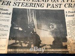 ORIGINAL Hand-Signed NEIL ARMSTRONG Autograph and Newspaper Lot FREE SHIPPING