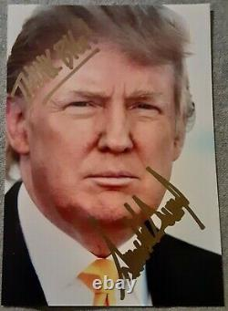 President Donald Trump Hand Signed Authentic Autographed 3 1/2 x 5 photo