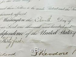 President Theodore Roosevelt BOLDLY HAND SIGNED 1907 Presidential appointment