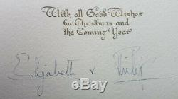 Queen Elizabeth II and Prince Philip Hand Signed Autograph Christmas Card 1948