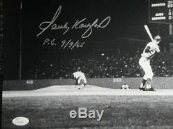 Sandy Koufax Hand Signed Autographed16X20 Photo Dodgers P. G. 9/9/65 JSA Letter