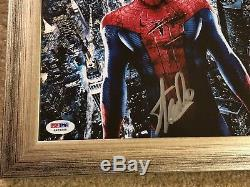 Stan Lee Hand Signed Autographed Custom Framed Spider-Man Picture with PSA COA