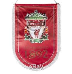 Steven Gerrard Hand Signed Liverpool Pennant Signed Gold Autograph