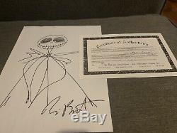 TIM BURTON Hand Signed Autographed JACK SKELLINGTON Original Art w /COA