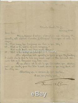 Thomas Edison Hand Signed Document Autographed 1888