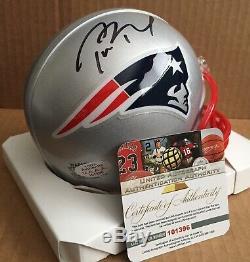 Tom Brady Hand Signed Football Mini Helmet Autographed with COA Holo Patriots