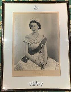 Vintage Hand Signed Photograph Queen Elizabeth II 1953 Autograph Photo Gurkha