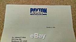 Walter Payton Autographed Hand Signed Personal Check & Letter Payton Price Low