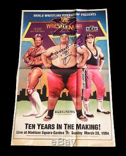 Wwe Yokozuna Bret Hart Lex Luger Hand Signed Autographed Wrestlemania Newspaper