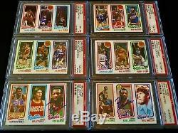 (167) 1980 Nba Basketball Autographié Topps Hof Set Lot Auto Vintage Nba Psa / Adn